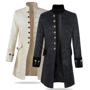 Long Jackets image is loading mens-stand-collar-trench-long-jacket-gothic-coat- EATWQUB