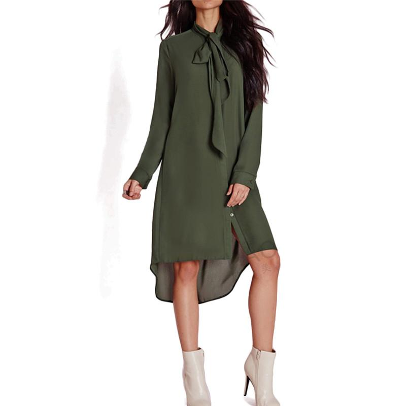 Long Shirts women-army-green-neck-tie-long-shirts-stand ... LCAIRBX
