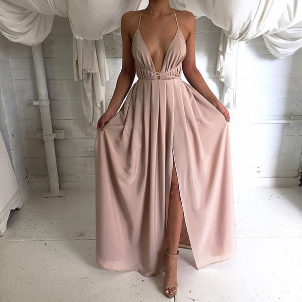 Long Silk Dress 2016 silk satin deep v neck long maxi dress with cross spaghetti strap open  back RSQABDC