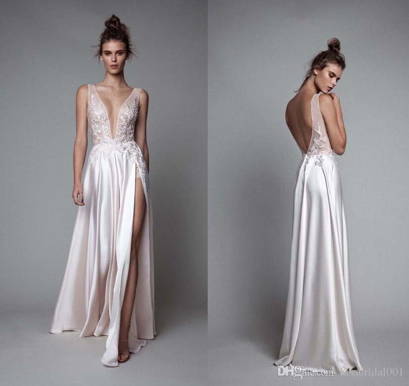 Long Silk Dress discount berta bridal 2018 summer beach wedding dresses sexy backless long  lace 2019 bridal gowns YXPDDIF