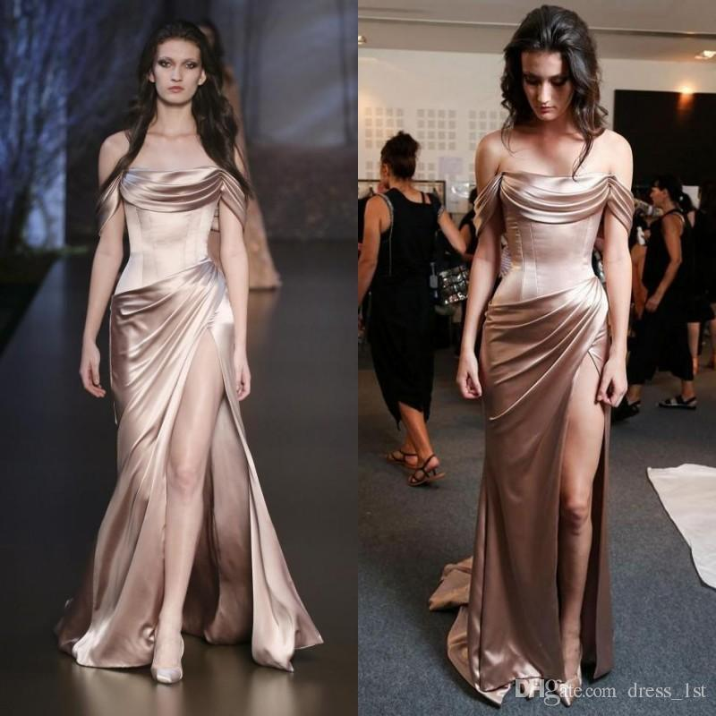 Long Silk Dress sexy 2016 rose gold elastic silk like satin off shoulder mermaid evening  dresses cheap ruched NDXYNDI