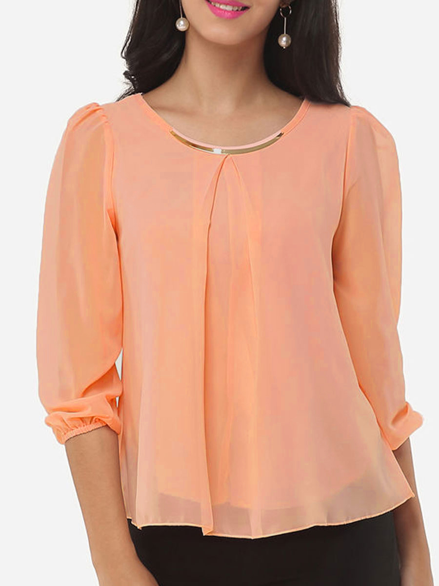 Long Sleeve Blouses autumn spring chiffon women round neck asymmetric hem plain long sleeve  blouses FPTTSVD