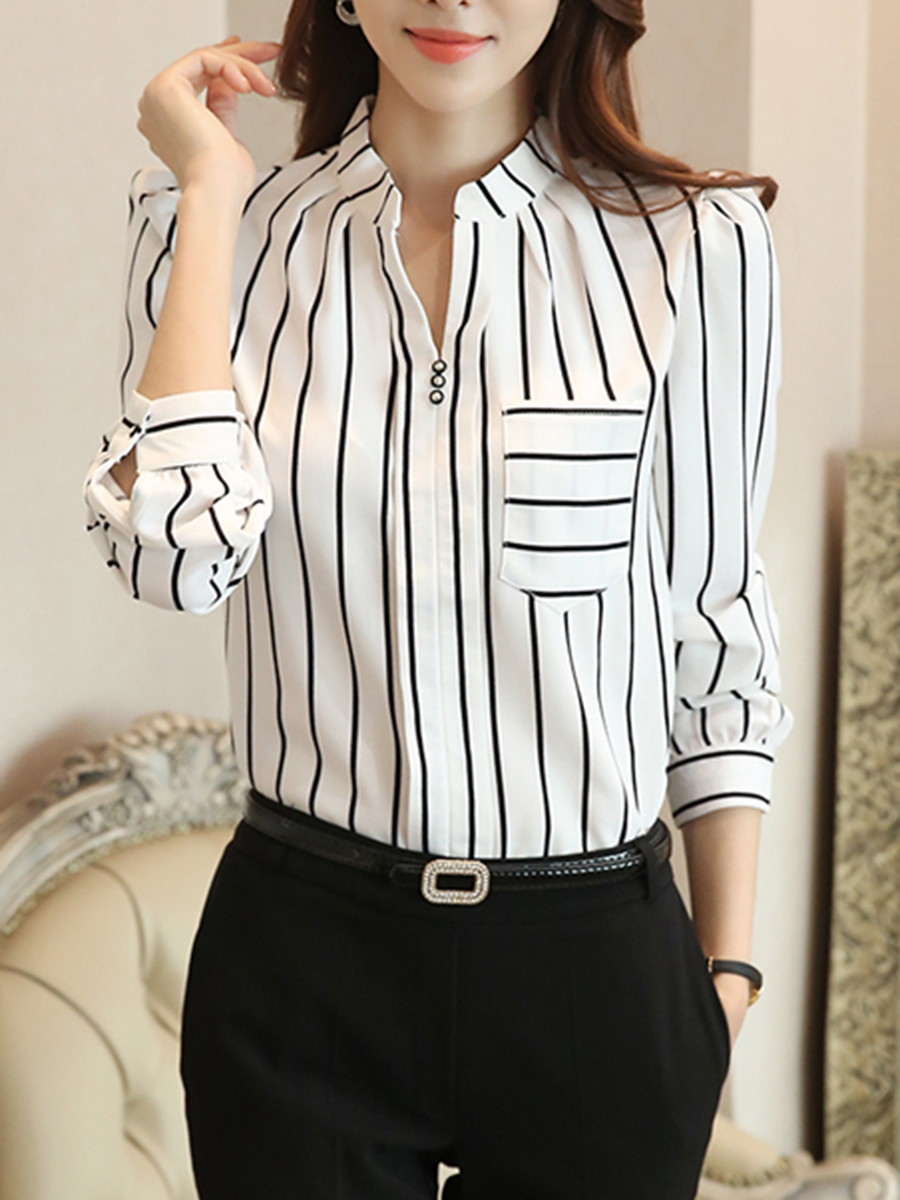 Long Sleeve Blouses autumn spring chiffon women split neck patch pocket striped long sleeve  blouses SRBTMCR