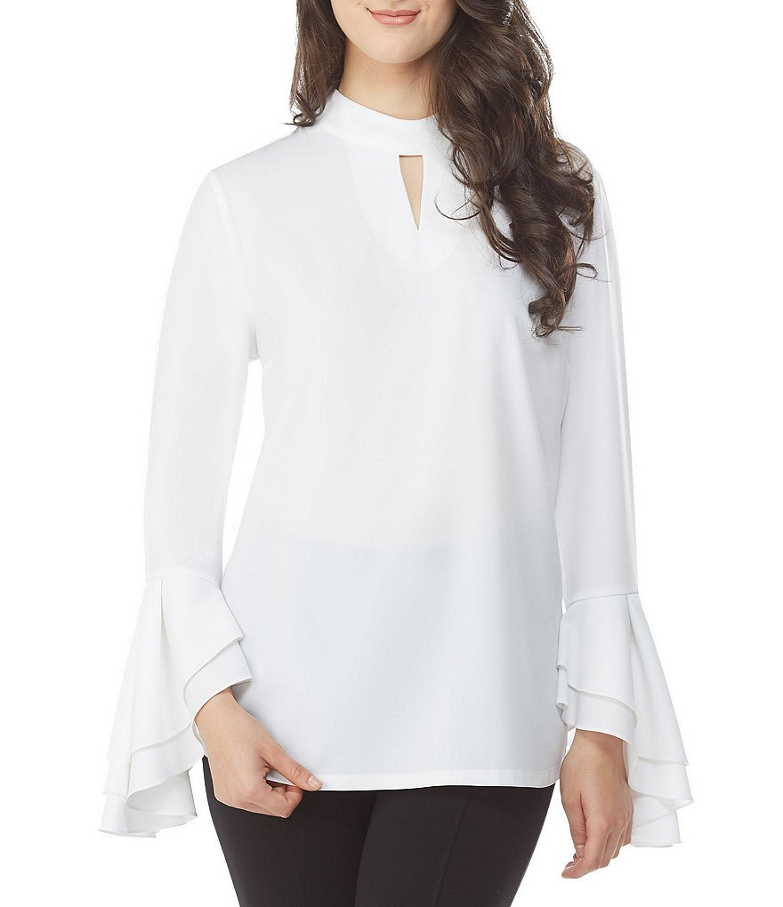 Long Sleeve Blouses long-sleeve - womens peter nygard keyhole neck bell sleeve blouse white |  gift SYVPXLW