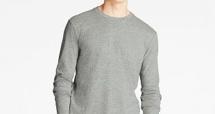Long Sleeve Shirts for Men men soft touch crewneck long-sleeve t-shirt, gray, large ECUSBFT