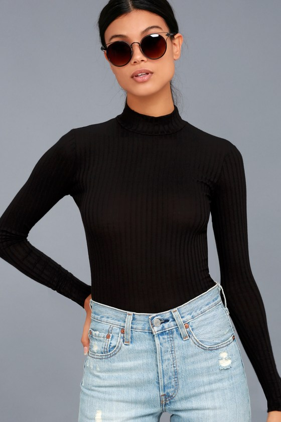 Long Sleeve Tops someone like you black long sleeve mock neck top ZCVBXNT