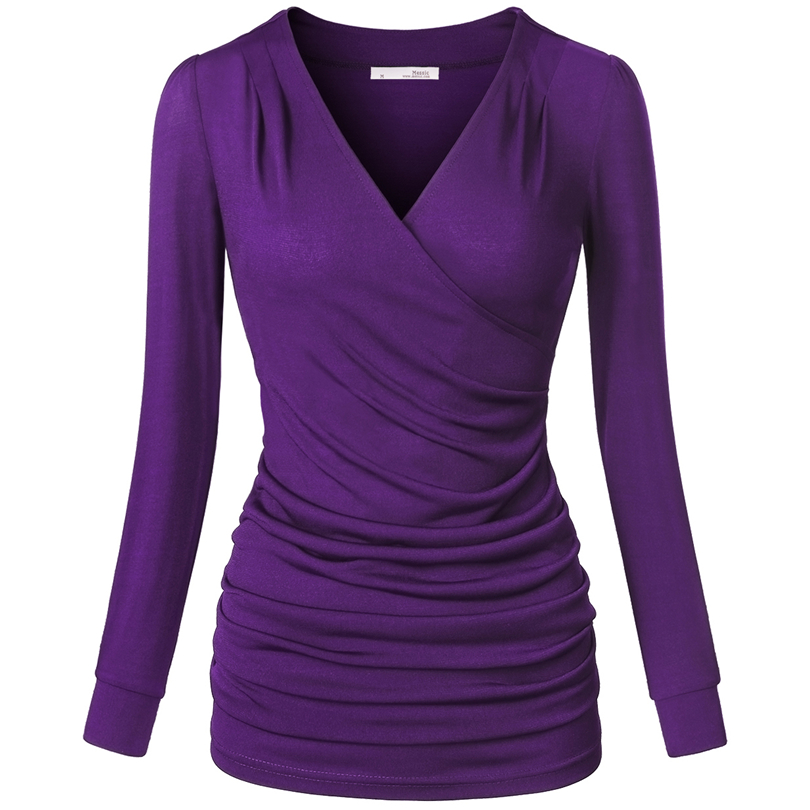 Long Sleeve Tops women v neck t shirt tops elegant womens crossover long sleeve tops ruched  slim fit XMLIHJO