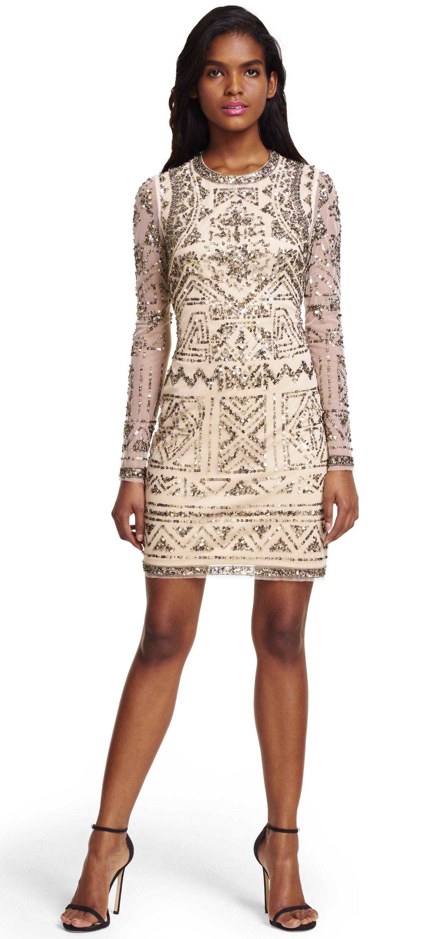 LONG SLEEVED COCKTAIL DRESSES ... long sleeve fully beaded cocktail dress ZTVVFGK