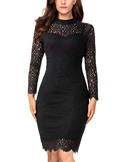 LONG SLEEVED COCKTAIL DRESSES noctflos womenu0027s black lace cocktail wedding party bodycon dress with long  sleeve QRWNQWA
