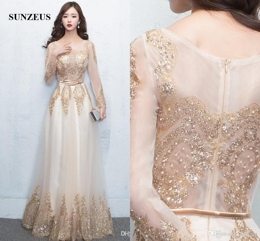 Long sleeved evening dresses 2017 long sleeved evening dresses gold sequins lace formal gowns sheer top  sexy CSIDOEW