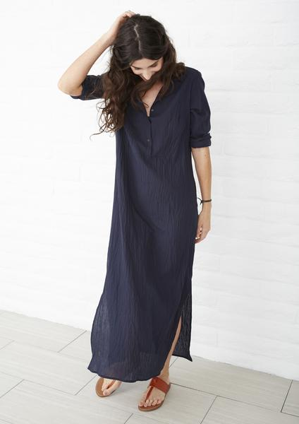 Long tunic eco friendly tunics - navy cotton bib WHJJHAR