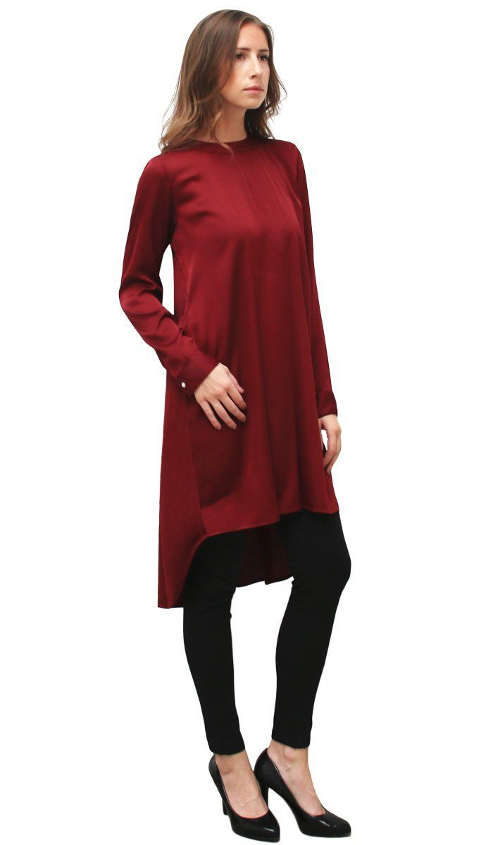 Long tunic reem charmeuse satin formal long tunic dress - maroon RTLXAKS