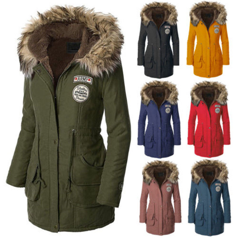 Long Winter Women's Jackets womens warm long coat fur collar hooded quilted jacket slim winter parka  outwear KLWWGBE