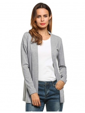 long womens cardigans meaneor gray womens v-neck long sleeve open front casual solid sweaters u0026  cardigans MSOJMLH