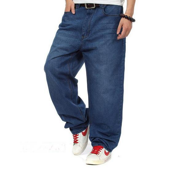Loose Fit Jeans for Men hot sale denim men jeans men loose fit jeans hip hop jeans blue long  straight QMICYQQ