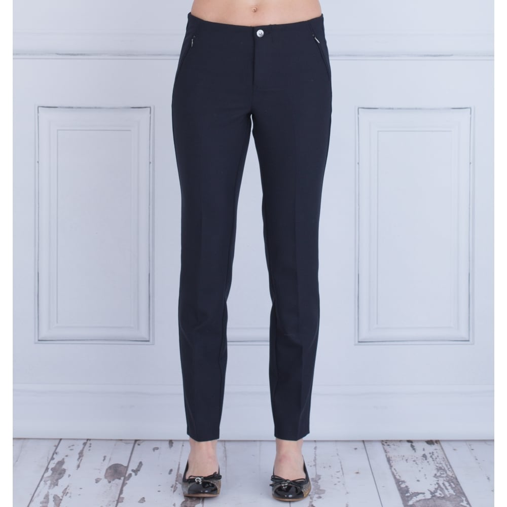 MAC Trouser anna zip new narrow leg trouser in dark blue 529700 30l WNZLBRG
