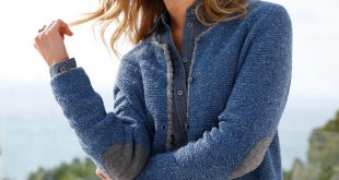 MAERZ CARDIGANTS maerz cardigan with contrasting details women denim blue-mélange/grey 60%  new milled BASSVED