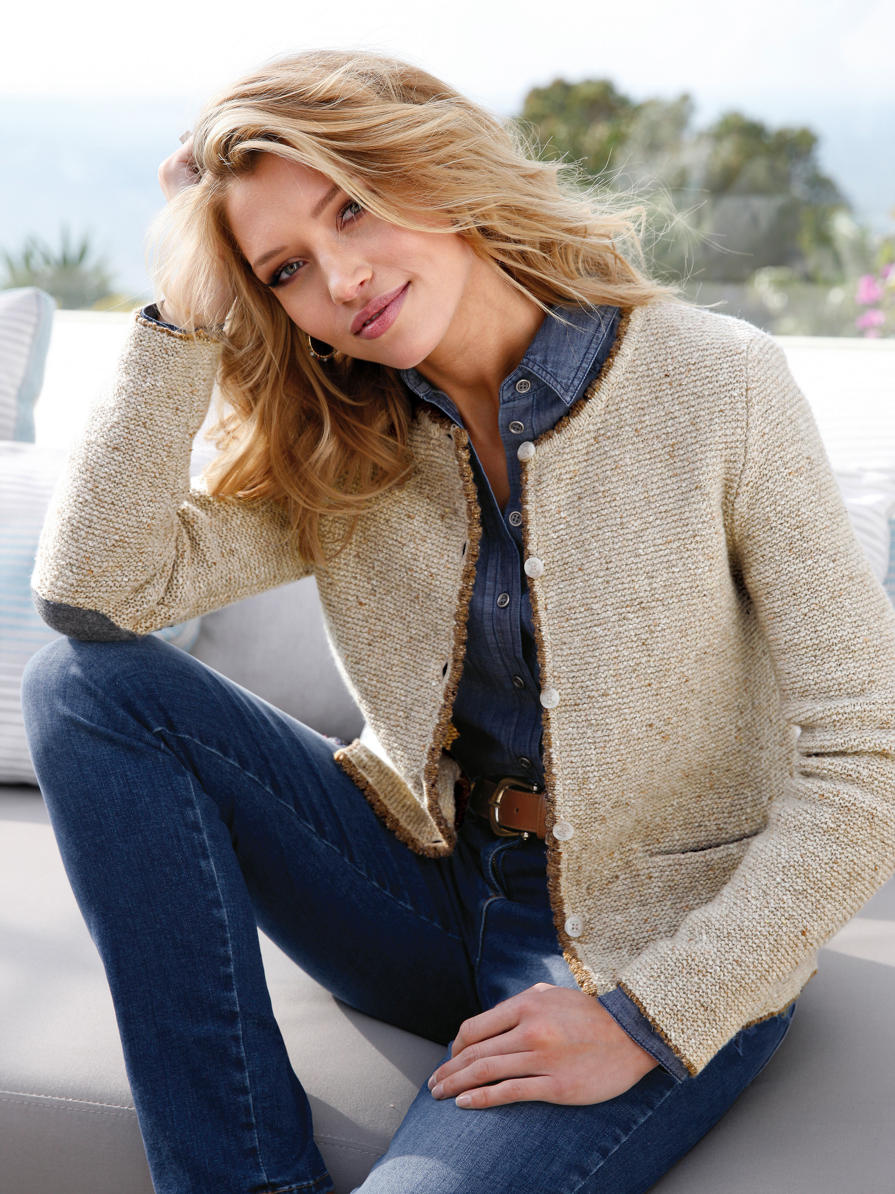 MAERZ CARDIGANTS maerz muenchen women cardigan with contrasting details natural-mélange 60%  new milled wool 20 MZPUQSK