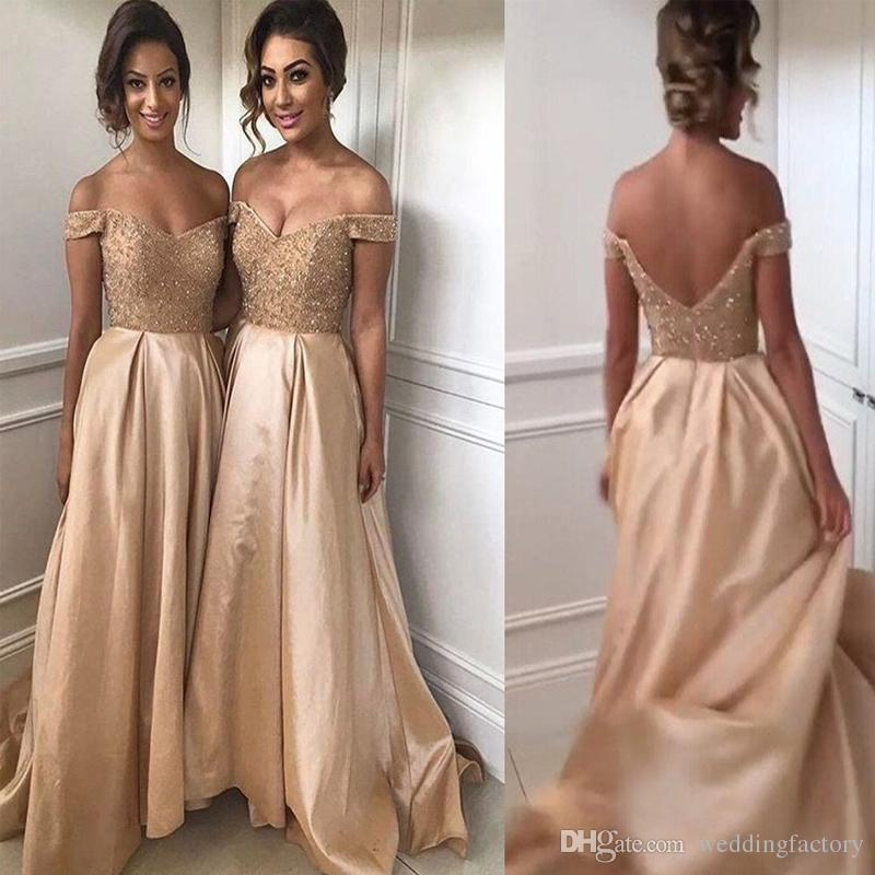 Maid of Honor Dresses 2017 sexy bridesmaid dresses champagne gold maid of honor dresses beaded  lace top off the DSDIAHB