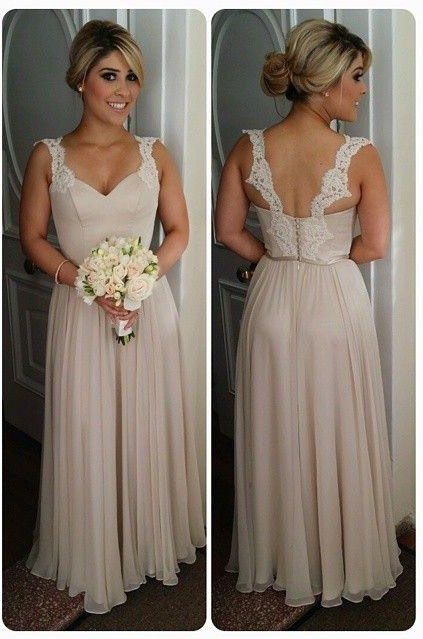 Maid of Honor Dresses 2018 chiffon straps bridesmaid dresses lace open back floor length elegant  a-line maid of honor YCPYGVA