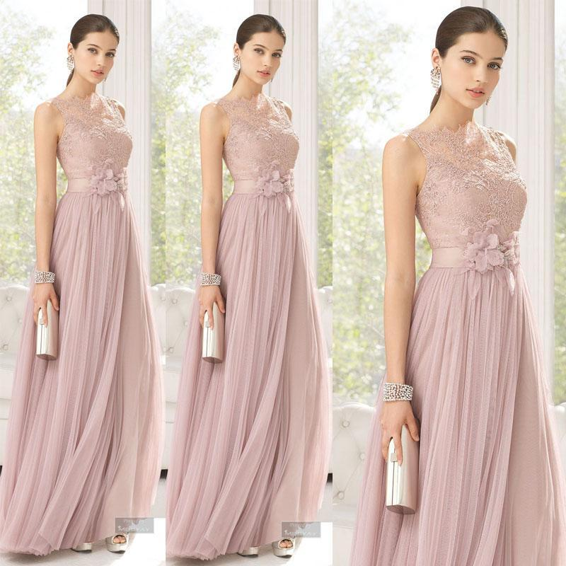 Maid of Honor Dresses bridesmaids dresses blush color tulle lace hand made flowers long maid of honor  dresses floor WTXMHOO