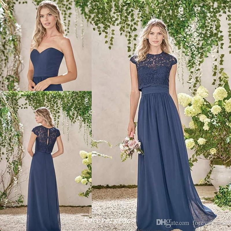 Maid of Honor Dresses elegant cheap dark navy long bridesmaid dress two pieces lace maid of honor  dress wedding UYDBFLR