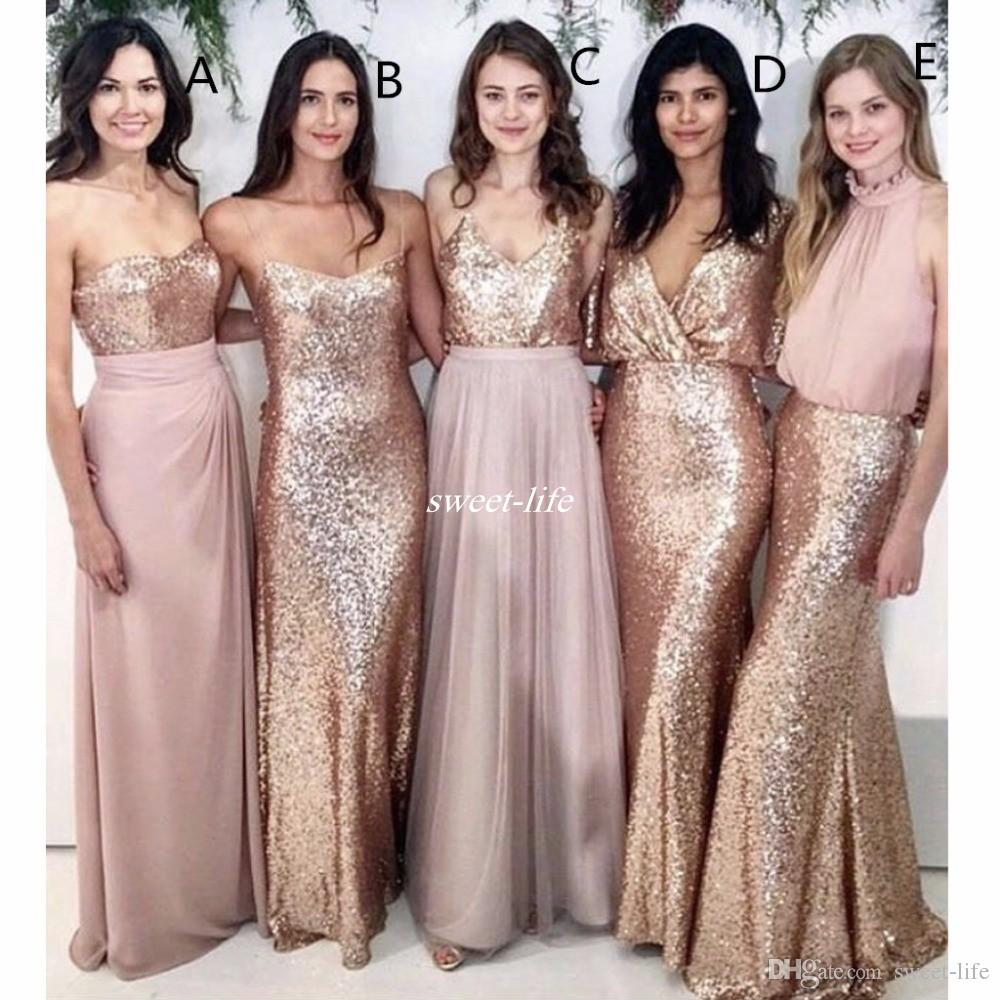 Maid of Honor Dresses modest blush pink beach wedding bridesmaid dresses with rose gold sequin  mismatched wedding maid of AUJPWWM