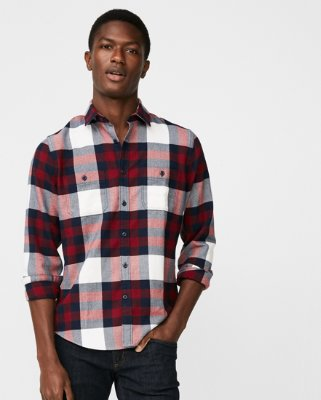 Men's Flannel Shirts plaid flannel stretch shirt | express RIBLMUC