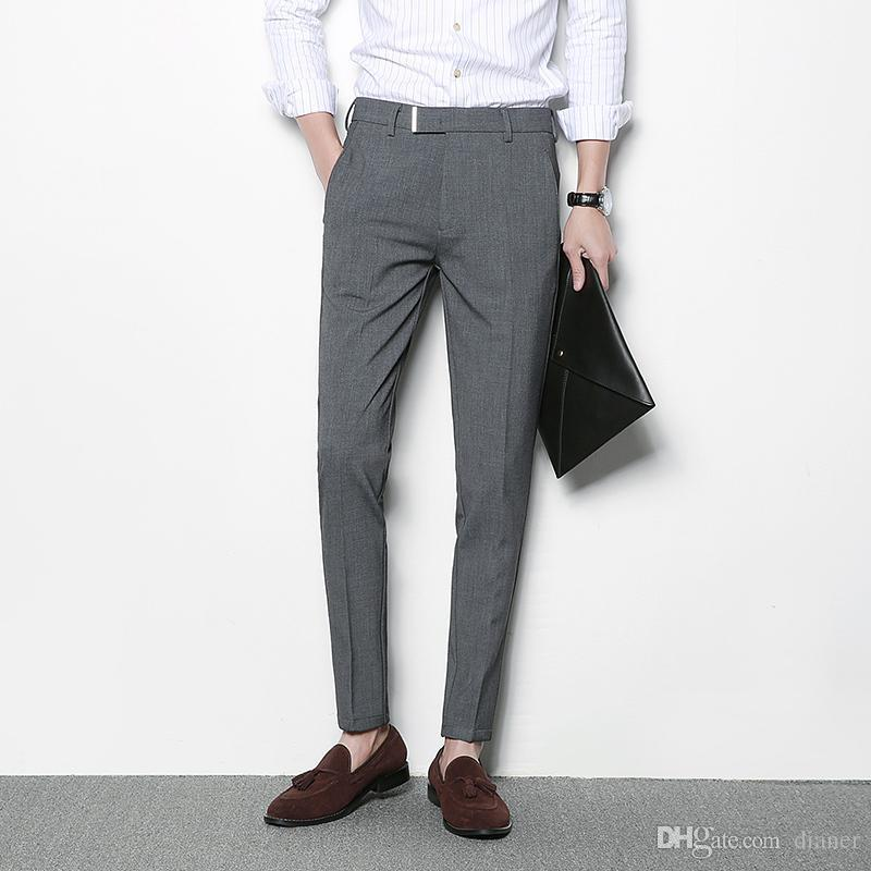 Mens Business Pants best mens grey trousers black casual dress pants men pantalon homme costume  slim fit business NISRJMZ