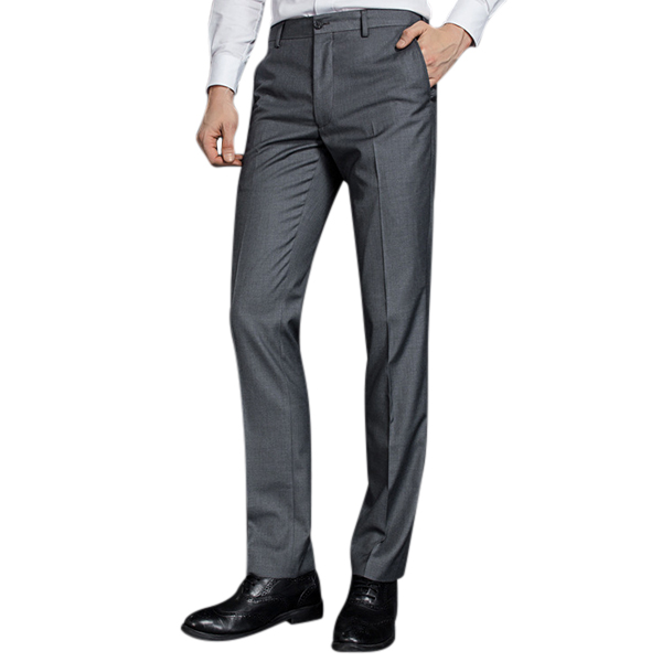 Mens Business Pants mens business casual straight leg dress pants slim-fit wash-and-wear pure YHPFXOG