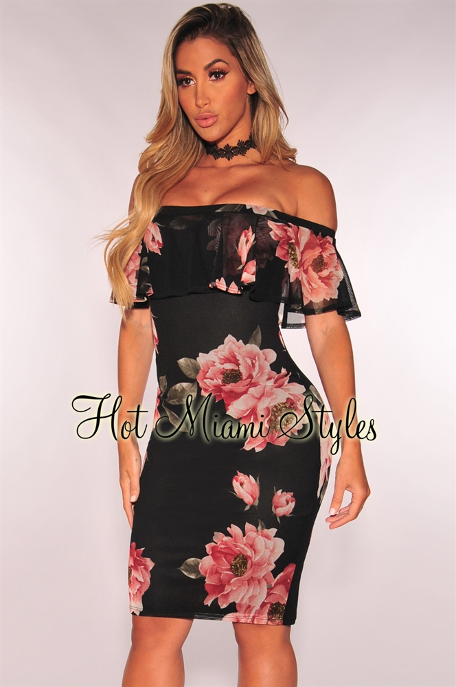 Off Shoulder Dresses black floral ruffle off shoulder dress FFDBSKB