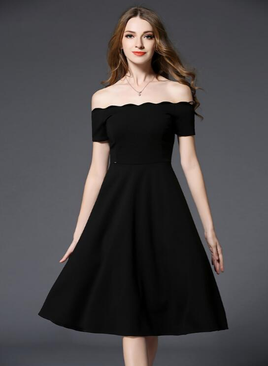 Off Shoulder Dresses black off shoulder dress summer women 2017 elegant short sleeve midi dress  long sexy party NKSLPZN
