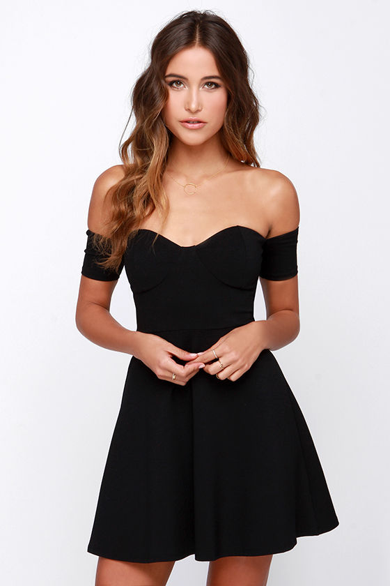 Off Shoulder Dresses celebrate good times off-the-shoulder black dress XFXOMGV