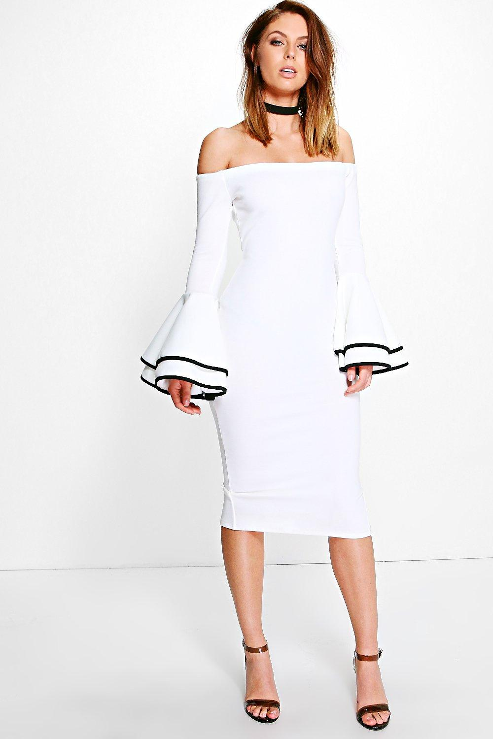 Off Shoulder Dresses off shoulder flared sleeve midi dress. hover to zoom ILNONTP