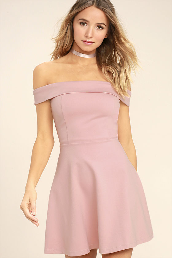 Off Shoulder Dresses season of fun blush pink off-the-shoulder skater dress BNDLVTF
