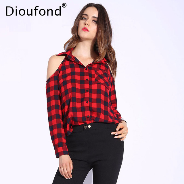 Off Shoulder Tops dioufond spring red plaid off shoulder tops shirts for women long sleeve  blouse sexy blouses LJLYRCS