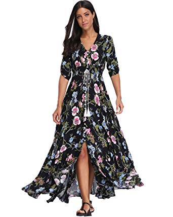 Party dresses for women bestwendding summer floral print maxi dress women button up split long  flowy bohemian TRIMJTK