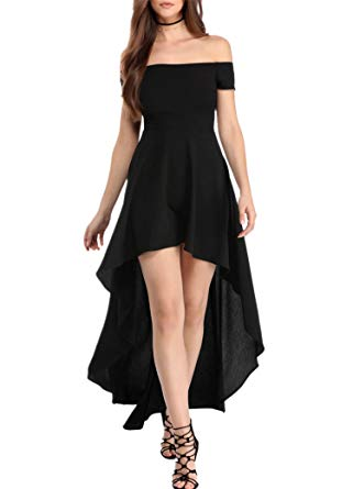 Party dresses for women sidefeel women off shoulder high low maxi party dresses small black ZLRYQYJ