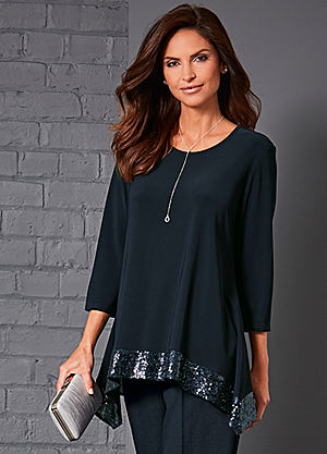 Party Tops sequin trim top ZPZUWYH