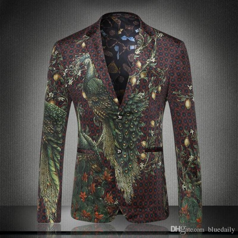 Peacock Jackets 2018 men peacock printed men blazers casual suit jacket slim fit homens  blazer mens stage TXEBCSF