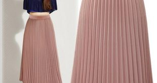 Pleated skirt for women 2018 fashion tea length pleated skirts for women 2017 summer empire chiffon  long plus size JHULTZG