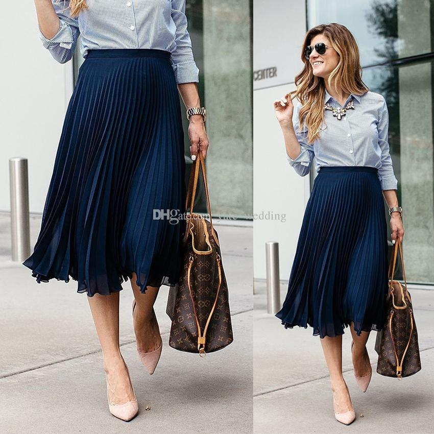 Pleated skirt for women navy blue pleated chiffon midi skirts for women fashionable street style  skirts for valentineu0027s day VSSSMBP