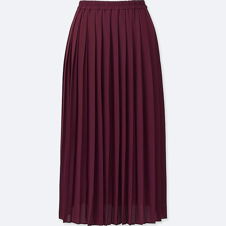 Pleated skirt for women women high waist chiffon pleated midi skirt, wine, large YTVDGYO