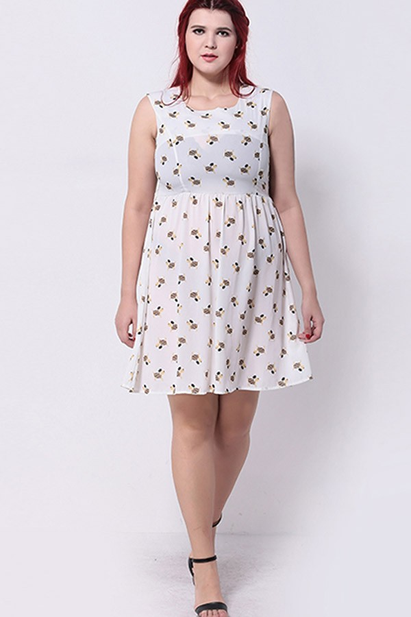 PLUS SIZE CASUAL DRESSES white graphic print casual plus size dress LHJYWRV