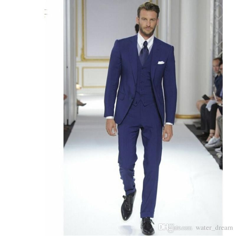 Prom Suits 2018 blue man normal prom suits groom tuxedos groomsman blazer business  suits fashion ZQATIVS