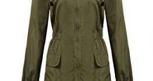 Rain Jacket for Women macr and steve womens lightweight hooded waterproof active outdoor rain  jacket army green UASSWAV