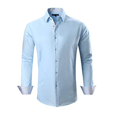 Regular Fit Shirts alex vando mens dress shirts cotton casual regular fit long sleeve collar  shirt RXTIYTU