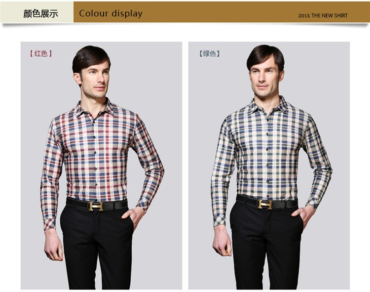Regular Fit shirts mens long sleeve plaid shirts slim fit summer style social dress mens shirts FIOXGTP