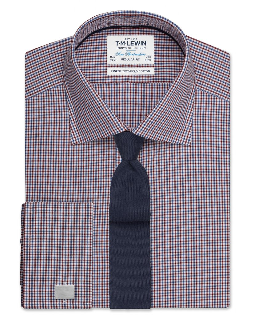 Regular Fit shirts regular fit burgundy and navy micro check shirt – double cuff GLSALNR
