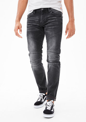 s.Oliver Jeans s.oliver men close slim: biker - style jeans dark grey denim c46h7940  larger MRVIXVE